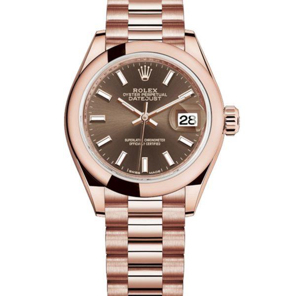 Rolex Datejust 279165 28mm Bracciale Da Donna Automatico In Oro Everose 18k