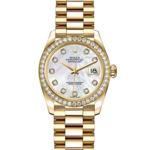 Rolex Datejust 179138 26mm Bracciale In Oro Giallo 18k Da Donna Automatico