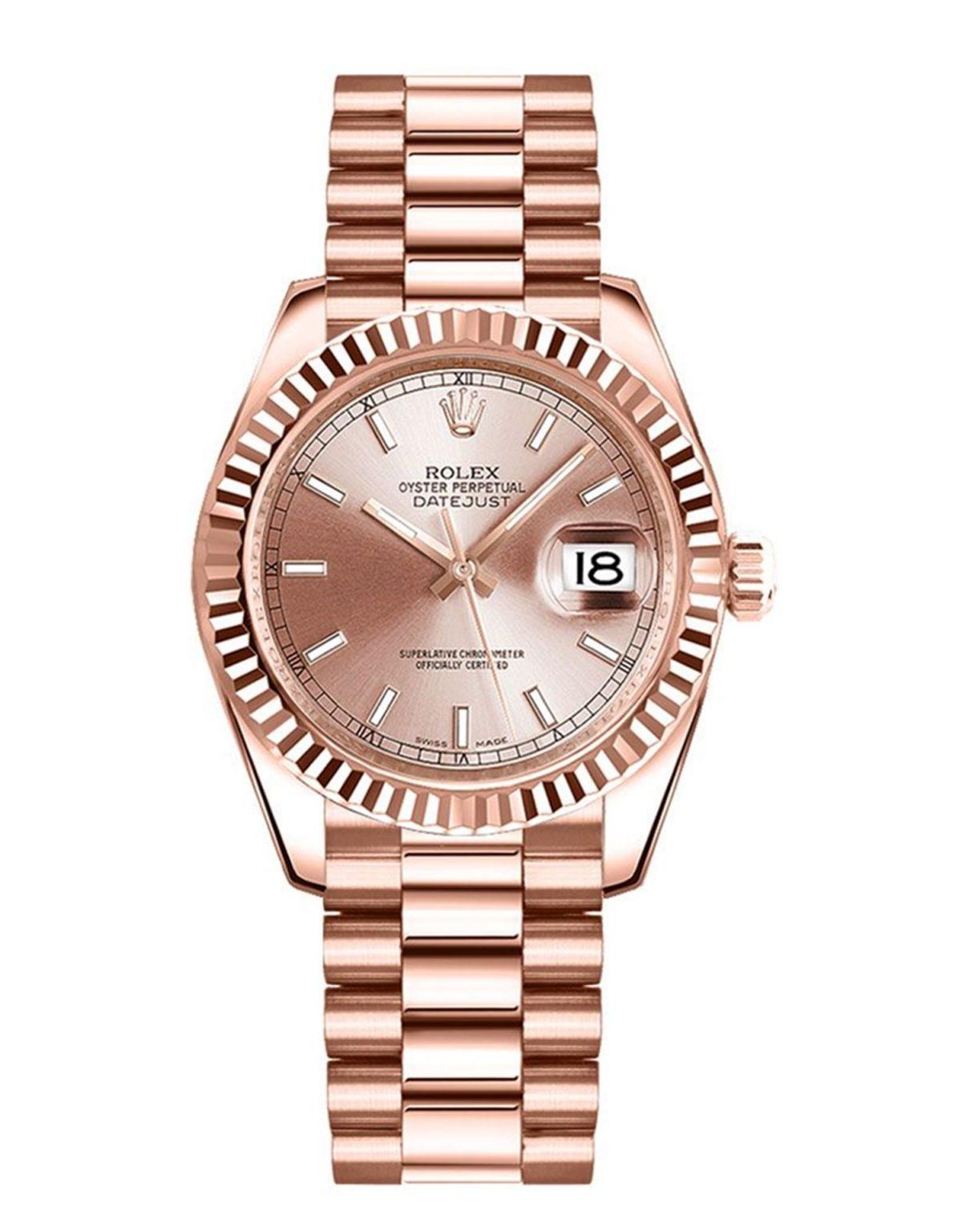 Rolex Datejust 178275 31MM da donna automatico 18k Everose Bracciale in oro