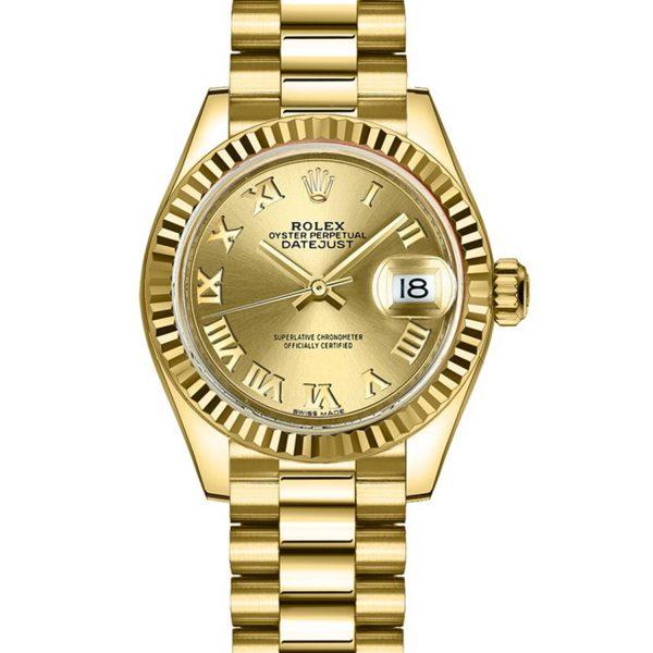 Rolex Datejust 279178 28MM Automatic Ladies 18k bracciale in oro giallo